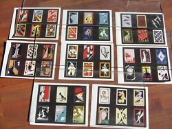 48 Misc. Mounted Vtg Orig. Photos Same Size Art Deco Playing Card Backs 8 Pages