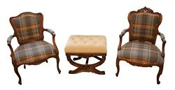 Pair Antique French Chairs Brown Plaid Bergere Louis Xv-style Fauteui King Queen