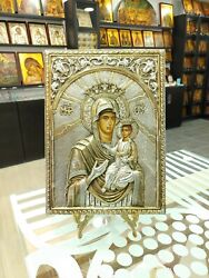 Virgin Mary Mother Of God Sterling Silver Orthodox Icon Silber Orthodoxe Ikone