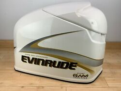 Brp Evinrude Ficht 225hp Top Engine Cowling Cover - White And Gold - New Old Stock