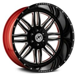 24 Xf Flow Forged Xfx-303 Gloss Black Milled W/red Inner Wheels Qty 4