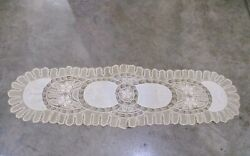 Antique Handmade Lace And Embroidered Dresser Scarf Table Runner Edwardian Vict.