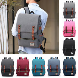 School Backpack Vintage Canvas Laptop Shoulder Bag for Men Women College Bookbag $16.99