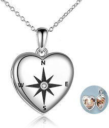 Sterling Silver Compass Heart Photo Locket Necklace For Women Graduation Gifts