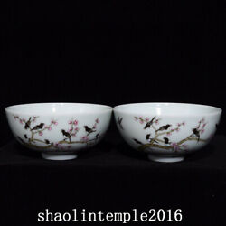 5 A Pair China The Qing Dynasty Pastel Magpie Plum Pattern Bowl