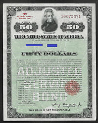 United States War Bond50.00 Fifty Dollar Adjusted Service Ww1 Issued 1936