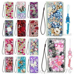For Motorola Moto Luxury Bling Slot Flip Wallet Leather Case Phone Cover And Strap