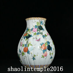 11.2 Rare China Antique Qing Dynasty Pastel Melon And Fruit Pattern Vase