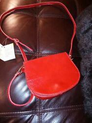 NEW Italian Red Leather Crossbody by Suede and Skin Leather Factory $70.00
