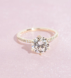 2.46 Tcw Round Cut Def Moissanite Engagement Ring In 14k Yellow Gold Plated