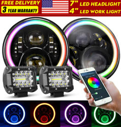 7 Rgb Color Led Headlights Hi/lo + 4and039and039 Work Combo For Ford F-100 F100 1969-1979
