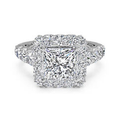 1.75 Ct Princess Solitaire Diamond Engagement Ring 14k Real White Gold Rings 09