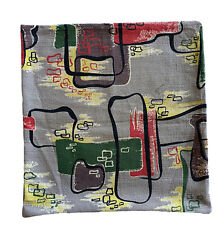 Vintage Midcentury Barkcloth Throw Pillow Cover Abstract Pattern 15andrdquo Square