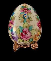 Limoges Porcelain Hand-painted Floral Egg Box W Miniature Pink Perfume Bottle 3andrdquo