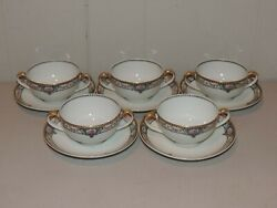Five 5 Theordore Haviland Schleiger 344b Two Handled Cream Soups And Underplates