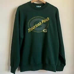 """Vtg Green Bay Packers """"america's Pack"""" Embroidered Crewneck Sweatshirt Large L"""