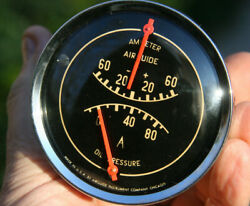 Airguide Vintage Dual Amp And Oil Pressure Gauge Cluster - Curved Glass