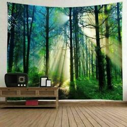 US 3D Sunshine Forest Tapestry Art Frondent Tapestry Room Wall Hanging Decor