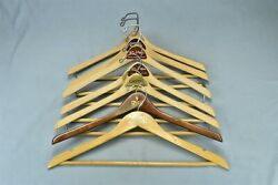 Vintage 7 Advertising Wooden Suit Clothes Hangers Clothing Stores Hotel 00741