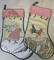 Lot Of 2 House Of Hatten Christmas Stockings Vintage Swan And Ice Skater Rare Pink