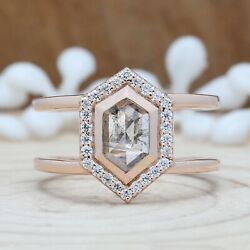 Salt And Pepper Hexagon Diamond Double Band 14k Solid Gold Gift Ring Kdl8954