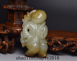 2.8 China Antique Natural Nephrite Hand Carving Lotus Holding Boy Statue