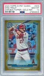2020 Topps Gypsy Queen 300 Mike Trout Gold Box Topper Psa 10 Gem Mint Pop 1