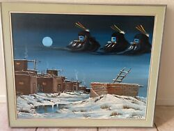 """1981 J-yazzie Oil Painting Canvas 22""""x28"""" Framed. Signed Front And Back"""