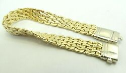 18k Yellow And White Two Tone Gold Wavy Link Bracelet 11mm 8 30.8g D9646