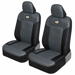 Cat Truck Seat Covers For Front Seats Set - Black And Gray Automotive Seat Covers