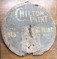Rare Antique Vintage Chilton Paint Embossed Tin Metal Advertising Sign