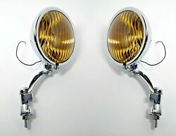 Pair Amber Fog Lights And Chrome Brackets, Glass Vintage Style For 1936-38 Chevy