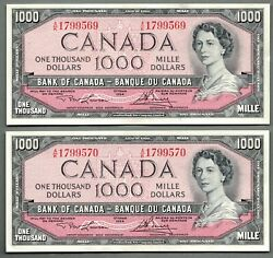 1954 Canada One Thousand Dollar Consecutive Serial Numbered Pair Of Bank Notes