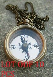 Nautical Brass Direction Compass Locket Compass With Long Chain.gifts