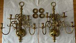 Pair Virginia Metalcrafters Brass Wall Sconces Candelabra Colonial Williamsburg