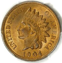 ⚡️🔥🧡❤️💥😍pcgs Ms65 Red 1904 Indian Head Cent