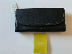 NEW Fossil SWL3089001 Cleo Clutch Women#x27;s Leather Wallet BLACK $88 $45.00
