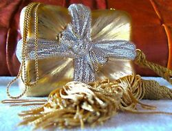 Vintage Judith Leiber Crystal Minaudiere Gift Wrapped Clutch Gold Evening Bag