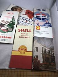 Gas Station Road Maps Shell Standard Conoco Lot Of 6 Chicago 1958-1972 Sinclair