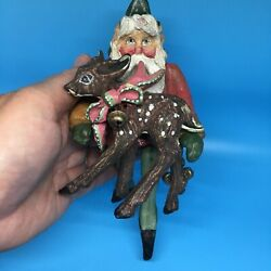 7 House Of Hatten 1988 Christmas Ornament Enchanted Forest Santa Elf With Deer