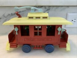 Vintage Mid Century Trolley Transit Co Pull Toy With Passengers That Move