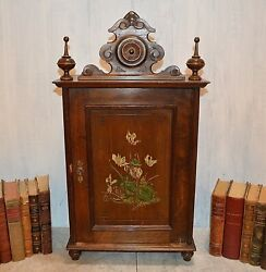 Antique French Freres Wall Cabinet Walnut Pediment Finials Floral Painted Motif