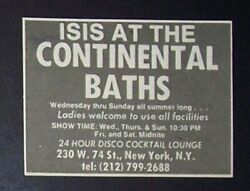 Isis @ The Continental Baths Nyc 1975 Concert Promo Ad Gay Culture, Bath House