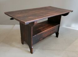 Vintage Rustic Black Solid Cherry Hutch Table Monkand039s Bench