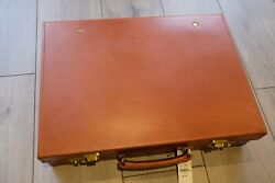 Peal And Co Tan Leather Attache Briefcase Made In England Swaine Adeney Brigg Bn
