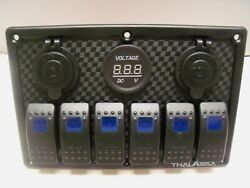 6 Gang Switch Panel With Volt Meter, Dual 12v Sockets