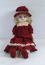 Vtg Schmid Musical Collectible Doll 16 In. Caucasian Girl Blonde Blue Eyes 1982