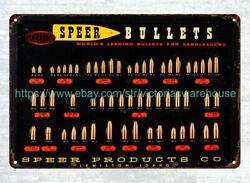 interior dorm room Speer Bullet Caliber firearm gun ammo metal tin sign