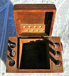 Vintage Wood 6 Pipe Tobacco Humidor Rack Stand Box + Contents Pipes