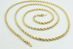 14k Yellow Gold Solid Rope Chain Necklace Dia Cut 29 3mm 24.1g S1756